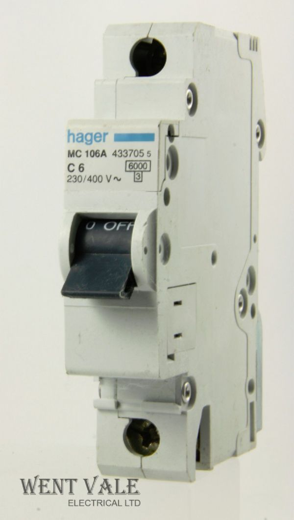 Hager MC106A - 6a Type C Single Pole MCB Used